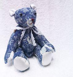 handmade teddy bear with batik pattern by aikoscloset on Etsy