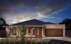 Metricon Chelsea resort facade, stone colour yuck but could work Family House Plans, Dream House Plans, House Doors, Facade House, Facade Design, Exterior Design, Loft House Design, Interior Design Gallery, Home Exterior Makeover