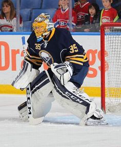 BUFFALO, NY - OCTOBER Linus Ullmark of the Buffalo Sabres takes part in warmups before their NHL game against the Montreal Canadiens on October 2015 at the First Niagara Center in Buffalo, New York. (Photo by Bill Wippert/NHLI via Getty Images) Buffalo Hockey, Buffalo Sabres, Goalie Mask, Nhl Games, Hockey Goalie, October 23, Montreal Canadiens, Espn, York