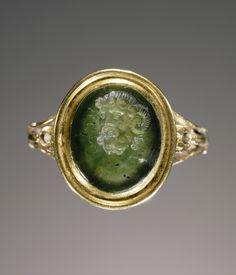 Engraved gem set into a ring.  Artist/Maker(s): Unknown.  Culture: Roman.  Date: gem 1st century; ring modern.  Medium: Gem: nephrite; Ring: gold.