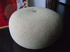 Extra Large Crochet Pouf Poof Ottoman Footstool Home by isWoolish, €125.00