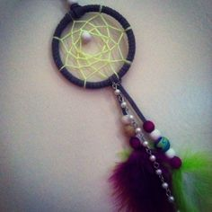 Cool gray neon purple and white dreamcatcher keychain or car accessory made by Megan Scholes