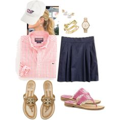"""Navy scallop skirt & pink gingham"" by maomi on Polyvore"
