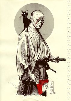 Samurai with cat Ronin Samurai, Samurai Warrior, Ninja Warrior, Art Ninja, Sketch Manga, Samurai Artwork, Japanese Warrior, By Any Means Necessary, Asian Tattoos