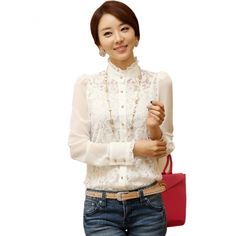 Women's Long Sleeve Sheer Lace Floral Chiffon Casual Tops Blouse Shirt White