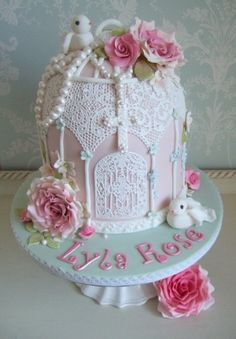 Vintage lace birdcage christening cake with Rosary Bristol, Pretty Amazing Cakes, Wedding & Celebration Cake design