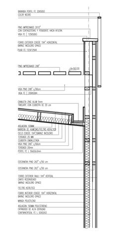 Image 23 of 43 from gallery of 21 Detailed Construction Sections for Wood Structures. The House on Pochoco Hill / Carreño Sartori Architects Architecture Design, Architecture Concept Diagram, Green Roof Benefits, Green Roof System, Wood Arch, Space Frame, Construction Drawings, Roof Detail, Wood Structure