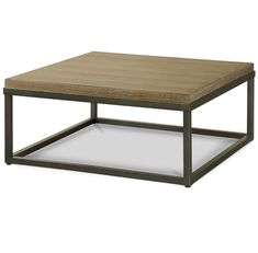 French Industrial Oak Wood + Metal Square Cocktail Table