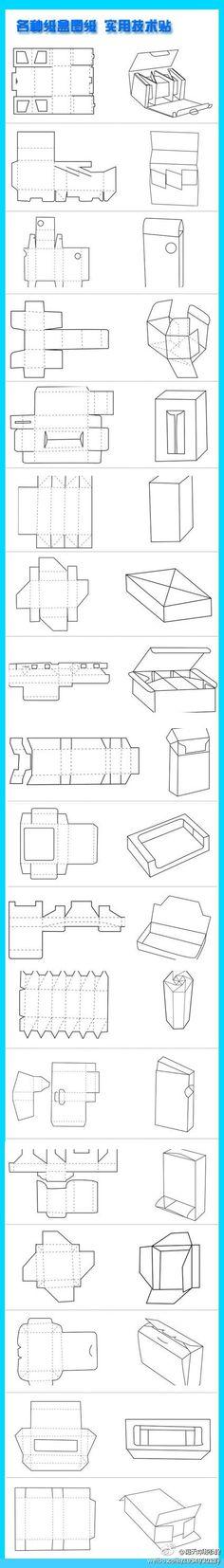 各种纸盒平面图