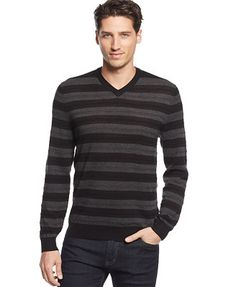 Club Room Merino-Blend Striped V-Neck Sweater