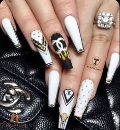 54 Hottest Trendy Acrylic Coffin Nails To Insprire You This Spring Cute Acrylic Nail Designs, Long Nail Designs, Art Designs, Summer Acrylic Nails, Best Acrylic Nails, Bling Nails, Swag Nails, Stylish Nails, Trendy Nails