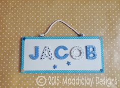 Personalised Name Plaque Blue & White Stars Bedroom Door Sign New Baby Gift Idea