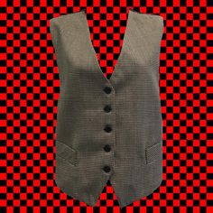 • early 90s Ann Taylor vest • black and white houndstooth • 100% wool front with acetate lining and back • 5 buttons in front with waist tie in back • size M • shoulder: 14 • bust: 36 • length: 22   get your Diane Keaton on!   ❉ ❉ ❉  check out www.instgram.com/vintish.nyc for perfect post-90s items, as well!  ❉ ❉ ❉  as with all vintage items, expect some wear. i inspect everything to make sure its just as described, but im happy to send additional information & photos if needed!  wan...
