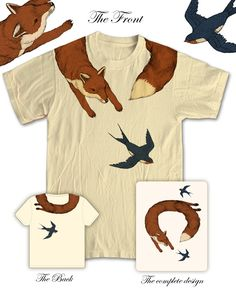 Two of my favorite things!  Fox and Swallows!  I want this!!