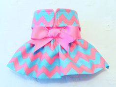 Female Dog Diaper Skirt  Perfect for your dog in Season and House Training Aqua and Pink Chevron by piddleronthewoof on Etsy