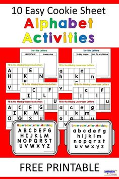 Easy and fun cookie sheet alphabet activities for kids. Includes 10 free printables for parents and kids to use. Easy and fun cookie sheet alphabet activities for kids. Includes 10 free printables for parents and kids to use. Alphabet Kindergarten, Kindergarten Centers, Preschool Letters, Learning Letters, Kindergarten Reading, Preschool Learning, Letter Recognition Kindergarten, Letter Sorting, Preschool Sight Words