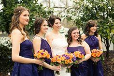 Plum purple and warm orange #bridesmaids bouquets | Zach + Sarah Photography #cjsoffthesquare #gardenwedding #snowywedding