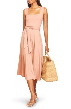 The must-have dress of the season is this simple jersey midi styled with square necklines, a ruched waistband and a sweet bow at the back. Style Name:Reformation Helina Tie Back Midi Dress. Style Number: 6054600_1. Available in stores. Pink Dress, Peplum Dress, Wrap Dress, Nordstrom Store, Reformation, Tie Backs, Nordstrom Dresses, Alternative Fashion, Square Necklines