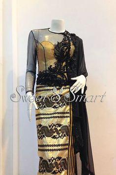 Myanmar traditional dress Myanmar Traditional Dress, Traditional Dresses, Thai Dress, African Wear, Kebaya, Elegant Dresses, Designer Dresses, Lace Skirt, Peplum Dress