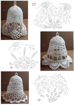 More Christmas bells crochet pattern Crochet Snowflake Pattern, Crochet Motifs, Christmas Crochet Patterns, Holiday Crochet, Crochet Snowflakes, Thread Crochet, Crochet Crafts, Crochet Projects, Crochet Christmas Decorations