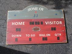 Sports scoreboard for little boys sport themed room (also available in basketball, baseball and hockey)