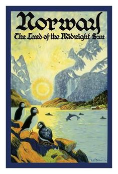 Giclee Print: Norway - The Land of the Midnight Sun - Norwegian Fjord with Atlantic Puffins by Ben Blessum : 44x30in