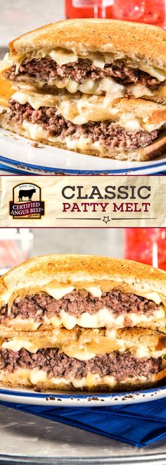 Certified Angus Beef brand Classic Patty Melt is an EASY tasty sandwich recipe made with the BEST lean ground beef! Thinly sliced onions Gouda and Swiss cheese make this DELICIOUS sandwich stand out! Boeuf Angus, Angus Beef, Roast Beef Sandwich, Sandwich Bar, Best Beef Recipes, Cooking Recipes, Favorite Recipes, Best Sandwich Recipes, Chicken Recipes