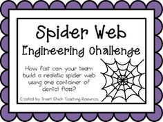 Engineering Challenge: How fast can your team build a realistic spider web using one container of dental floss? Materials: (per group) One container of dental floss Scissors Timer Sheet of black paper (use as a work mat) . Science Classroom, Teaching Science, Stem Teaching, Kindergarten Science, Classroom Door, Science Education, Higher Education, Teaching Ideas, Classroom Ideas