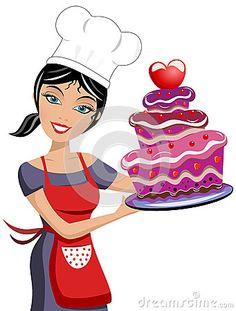Beautiful Woman Chef Valentine Day Chocolate Cake