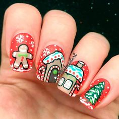 36 Popular Ideas of Christmas Nails Designs To Try in 2017 ❤️ Gingerbread Man Art picture 2 ❤️ Christmas nails are an essential part of your holiday image and we have created a gallery featuring the freshest designs for your inspo. Holiday Nail Colors, Holiday Nail Designs, Diy Nail Designs, Rave Music, Christmas Gel Nails, Holiday Nails, Gel Nails French, Spring Nail Trends, Nail Design Video