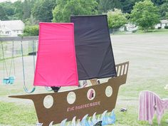 My daughter wanted a Pirate Princess party one year.  Thanks to her handy-dandy daddy he was able to construct a ship, where they took pictures and had a cannon ball war with water balloons