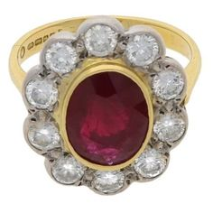 Ruby and diamond Cluster ring in 9 carat gold ❤ liked on Polyvore featuring jewelry, rings, yellow gold rings, ruby jewelry, gold diamond cluster ring, yellow gold diamond cluster rings and gold jewellery