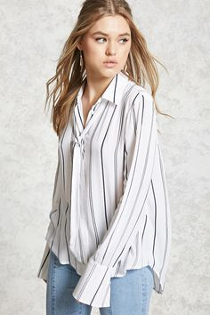 A semi-sheer shirt featuring a stripe pattern, a basic collar with a self-tie around the neck, a button front, long sleeves with button cuffs, and a curved high-low hem.