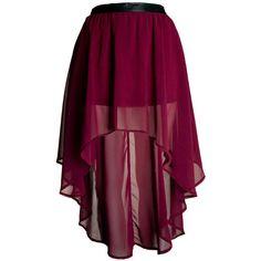 Burgundy Asymmetric Hem Chiffon Skirt (115 PLN) ❤ liked on Polyvore featuring skirts, mini skirts, bottoms, saias, faldas, mini pencil skirt, chiffon skirts, floral skirt, pleated mini skirt and patterned pencil skirt