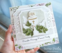 First Communion Cards, Diy And Crafts, Paper Crafts, Baptism Gifts, Cute Cards, Christening, Mini Albums, Big Shot, Crafty