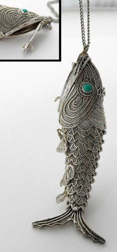 variations on a theme collection of sterling vintage fish antique articulated fish huge vinaigrette pendant sterling silver turquoise eyes aloadofball Image collections