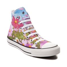 Lace up for petal pushin' sweet style with the Wild Flowers Sneaker from Converse! These Wild Flower Chucks rock a hi top design with graphic printed canvas uppers and signature Converse style and comfort. Only available at Journeys and SHI by Journeys!     Features include   Hi top style constructed with graphic printed cotton uppers   Lace-up closure for a secure fit   Signature Chucks rubber cap toe offers protection and durability   Converse rubber outsole provides flexible tractio...