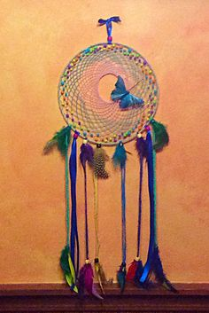Butterfly dream catcher. Multi color dream by DKCRAFTSSHOP on Etsy