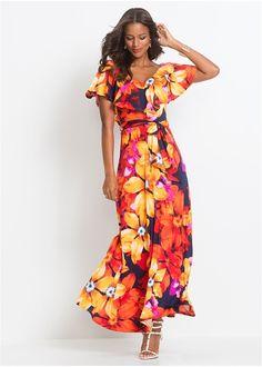 e99a2d1f7dfd Φόρεμα με βολάν και ζώνη Κίτρινο Κόκκινο BODYFLIRT boutique