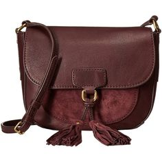 Frye Clara Saddle (Wine Soft Vintage Leather/Suede) Handbags ($140) ❤ liked on Polyvore featuring bags, handbags, shoulder bags, red, leather man bags, vintage leather purse, leather purses, red leather shoulder bag and frye handbags