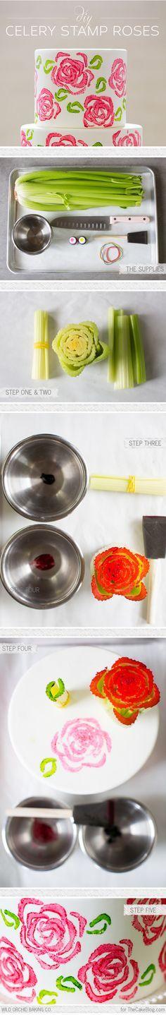 DIY Celery Stamp Rose Cake by Erin Garner - Wild Orchid Baking Co for TheCakeBlog.com