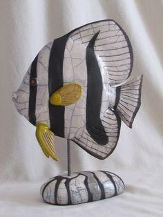 sculpture raku poisson platax animaux céramique grès Jean-Pierre Meyer