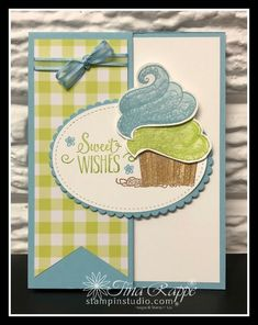 What fun! Great birthday cards with a bunch of Fun Folds. You can make these with the Hello Cupcake stamp set and Gingham Gala Paper! Fun Fold Cards, Folded Cards, Handmade Birthday Cards, Greeting Cards Handmade, Card Making Inspiration, Making Ideas, Cupcake Card, Paper Cupcake, Kids Cards