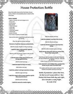 House Protection Bottle Spell Wicca Pagan Occult Book of Shadows on Parchment