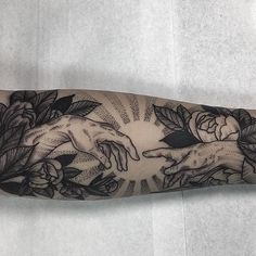 Sistine Chapel reference with flowers, by Kyle Stacher. (via IG—thiefhands) Bicep Tattoo Women, Inner Forearm Tattoo, Small Forearm Tattoos, Forearm Sleeve Tattoos, Sleeve Tattoos For Women, Tattoo Sleeve Designs, Tattoos For Guys, Bicep Tattoos, Inner Arm Tattoos