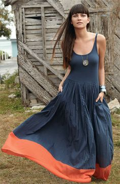 WANT!!! French Connection Colorblock Cotton Tank Maxi Dress