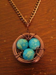 HANDMADE Copper Bird's Nest Necklace with Blue Speckled Eggs ($15)