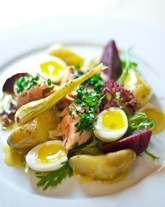 Olive Oil-Poached Salmon Belly Salad with Mustard Vinaigrette