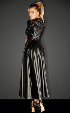 komplet płaszcz i sukienka koronkowa F128C, Noir Handmade