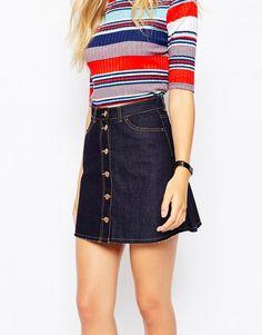 Monki | Monki A-Line Denim Skirt at ASOS